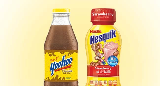 Yoo Hoo and Nesquik bottles